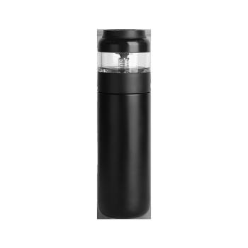 網易厳選茶分離保温カップ304スティンレスカップ男性女性創意水カップ分離式携帯車載屋外茶カップ黒