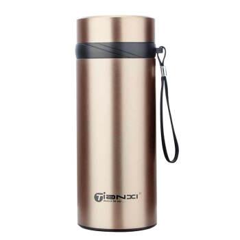 天喜(TIANXI)大容量保温カップ304スティンカップ男性女性携帯カップ大カップアウトドアポット110 mlシャンパンゴールド