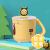 シンガポールUNIBOTT优道小蜂子供用水カップ家庭304スティンレス幼稚園児用カップ幼児用転倒防止水コップコップカバー付き保冷カップ250 ml黄色