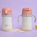 食魔師(THERMOS)新型子供保温カップ学生韓国可爱い双耳保温コップ取っ手付き学飲コップTKFC-280ピンク280 ml