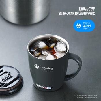 日本lissa 304スティンレス保温カップ女子学生コーヒーカップスプーンセットオフィスカップルカップ断熱アイデア韓国式マグカップ大容量グレー